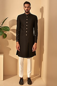 Black Embroidered Panelled Sherwani by Dhruv Vaish