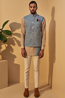 Mineral Blue Embroidered Jacket With Short Kurta by Dhruv Vaish