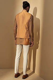 Ochre Yellow Embroidered Jacket With Short Kurta by Dhruv Vaish