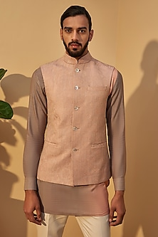 Sand Rose Pink Embroidered Jacket With Short Kurta by Dhruv Vaish