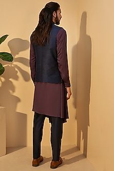 Indigo Blue Embroidered Jawahar Jacket by Dhruv Vaish