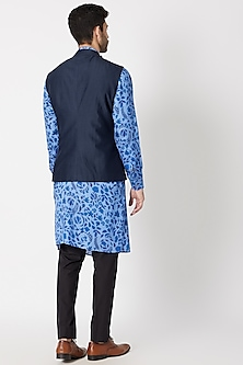 Navy Blue Textured Nehru Jacket by Dhruv Vaish