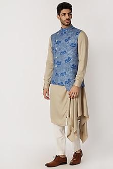 Sky Blue Printed Nehru Jacket by Dhruv Vaish