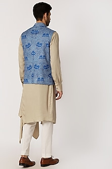 Sky Blue Printed Nehru Jacket by Dhruv Vaish
