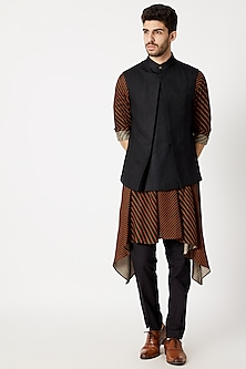 Black Invert-Pleated Nehru Jacket by Dhruv Vaish