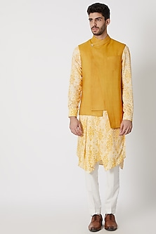 Mustard Contemporary Nehru Jacket by Dhruv Vaish
