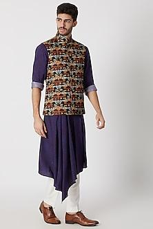 Maroon Printed Nehru Jacket by Dhruv Vaish