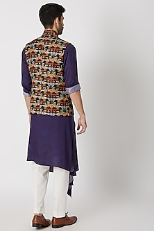 Maroon Printed Nehru Jacket by Dhruv Vaish