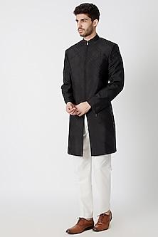 Black Zipped Short Sherwani by Dhruv Vaish