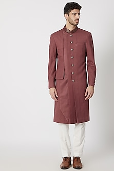Brown Multi Paneled Silk Sherwani by Dhruv Vaish