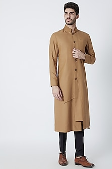 Brown Multi Paneled Sherwani by Dhruv Vaish