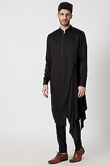Black Draped & Flared Kurta by Dhruv Vaish