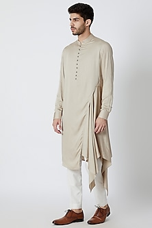 Light Beige Draped & Flared Kurta by Dhruv Vaish