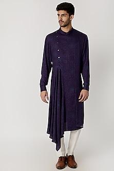 Purple Draped & Printed Kurta by Dhruv Vaish