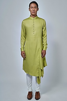 Lime Green Draped Kurta Set by Dhruv Vaish