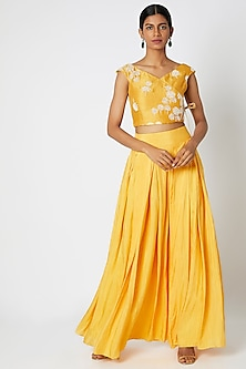 Mustard Yellow Printed & Embroidered Top & Skirt by Dhwaja