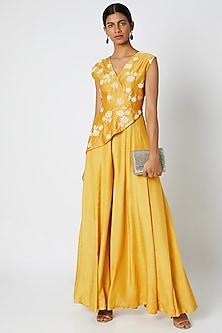 Mustard Yellow Embroidered Peplum Jumpsuit by Dhwaja