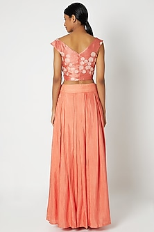 Rose Pink Embroidered Top & Skirt by Dhwaja