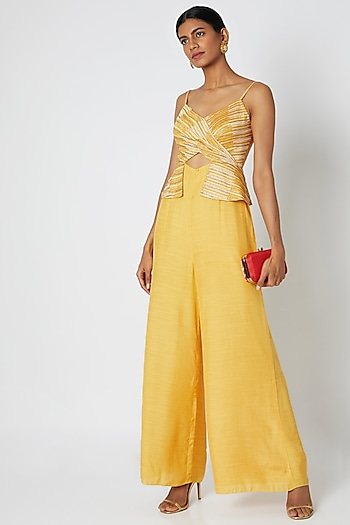 Mustard Yellow Embroidered & Printed Peplum Jumpsuit by Dhwaja