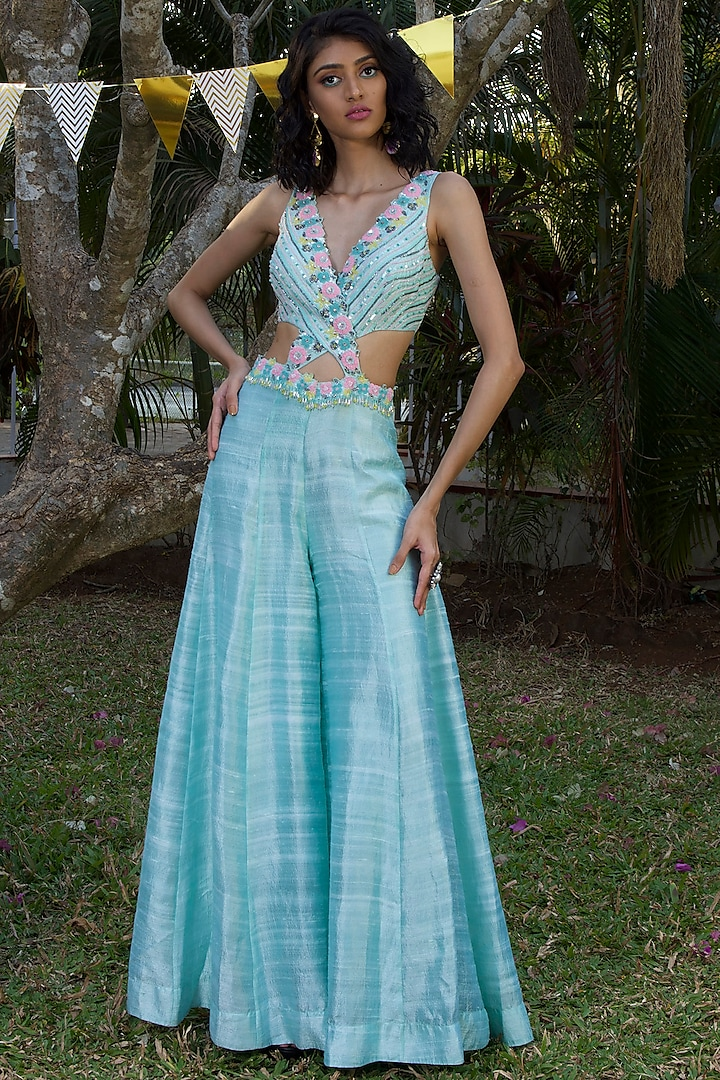 Aqua Hand Embroidered Jumpsuit  by Dhwaja