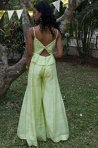 Lime Green Hand Embroidered Jumpsuit by Dhwaja