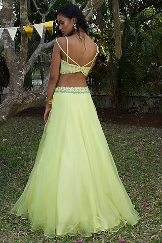 Lime Green Hand Embroidered Lehenga Set by Dhwaja