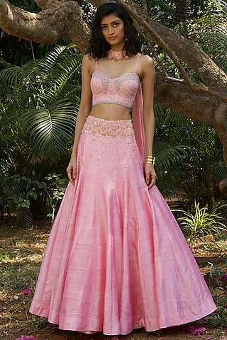 Blush Pink Hand Embroidered Lehenga Set by Dhwaja