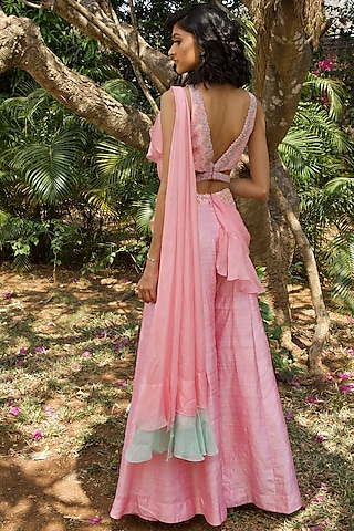 Blush Pink Hand Embroidered Pant Saree Set by Dhwaja