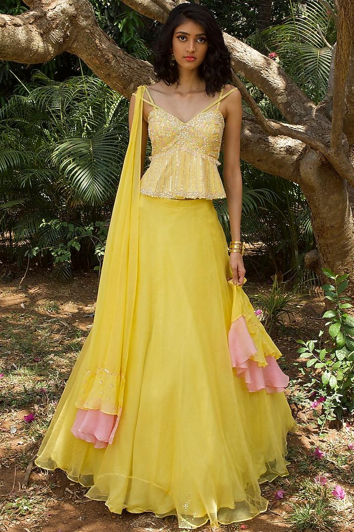Pastel Yellow Embroidered Lehenga Set by Dhwaja