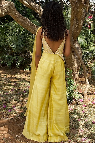 Pastel Yellow Hand Embroidered Jumpsuit by Dhwaja