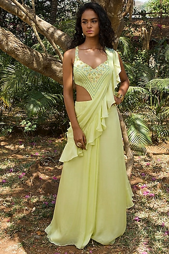 Lime Green Hand Embroidered Pre Draped Saree by Dhwaja