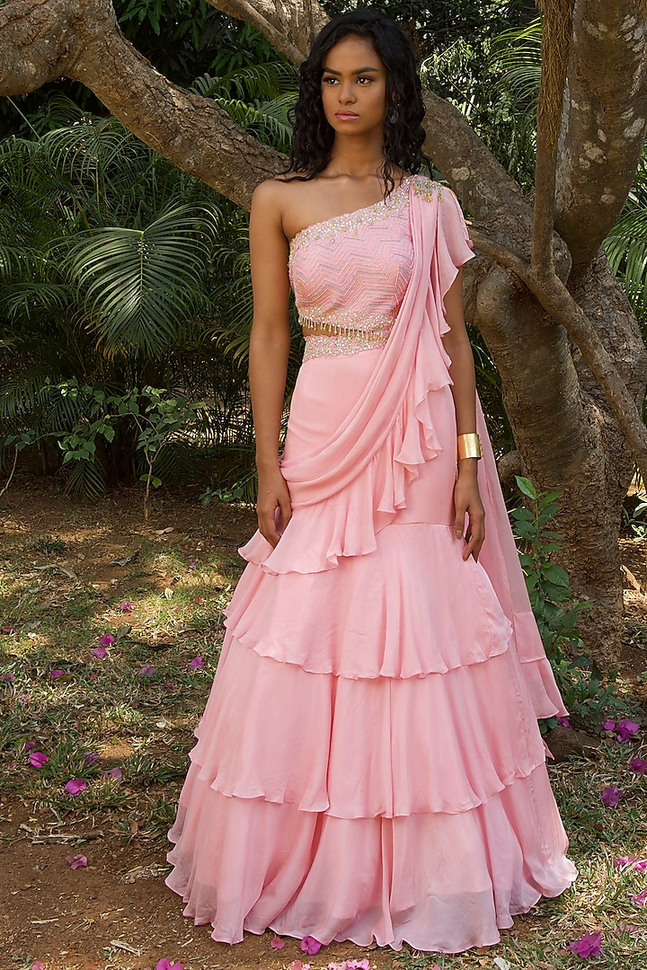 Blush Pink Embroidered Saree Gown by Dhwaja