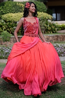 Coral & Pink Ombre Gown With Drape by Dhwaja