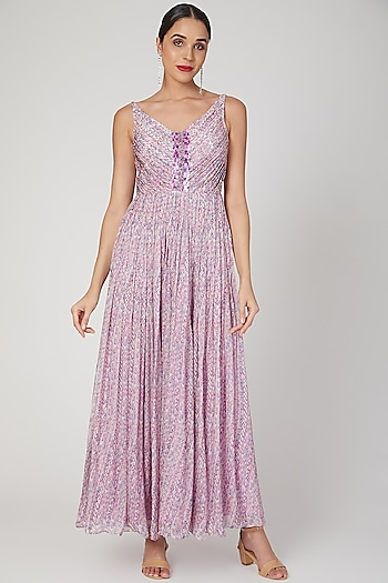 Lilac Sequins Embroidered & Printed Gown by Dhwaja