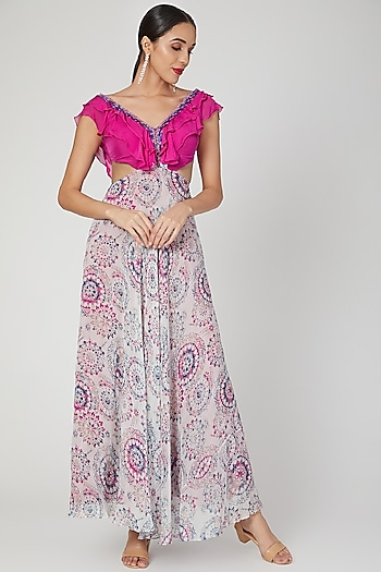 Fuchisa Pink Embroidered & Printed Gown by Dhwaja