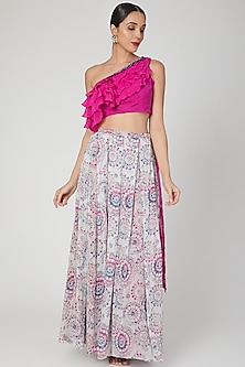 Fuchisa Pink Embroidered & Printed Skirt Set by Dhwaja