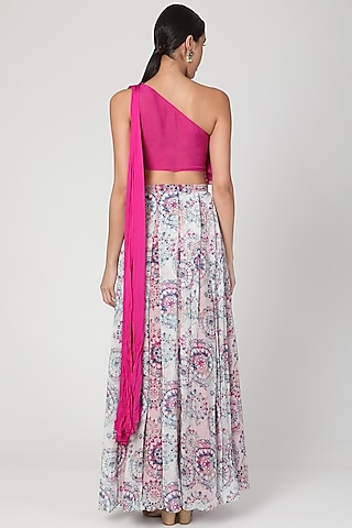 Fuchisa Pink Embroidered & Printed Skirt Set by Dhwaja