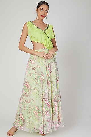 Lime Green Embroidered & Printed Gown by Dhwaja