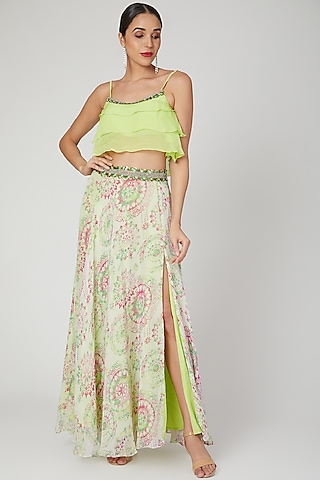 Lime Green Printed & Embroidered Skirt Set by Dhwaja