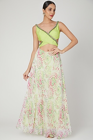 Lime Green Embroidered & Printed Wrap Gown by Dhwaja