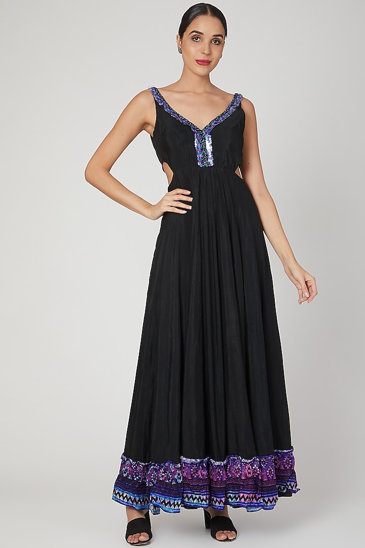 Black Printed & Embroidered Gown by Dhwaja