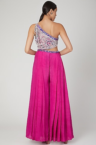 Fuchsia Pink Printed & Embroidered Jumpsuit by Dhwaja