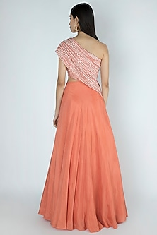 Rose Pink Embroidered & Printed Gown by Dhwaja
