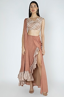 Cappuccino Embroidered Pre-Draped Saree Set by Dhwaja