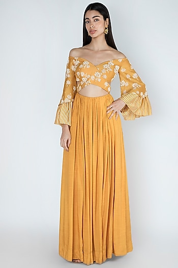 Amber Yellow Embroidered & Printed Off-Shoulder Gown by Dhwaja