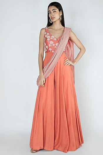 Rose Pink Embroidered & Printed Pant Saree by Dhwaja