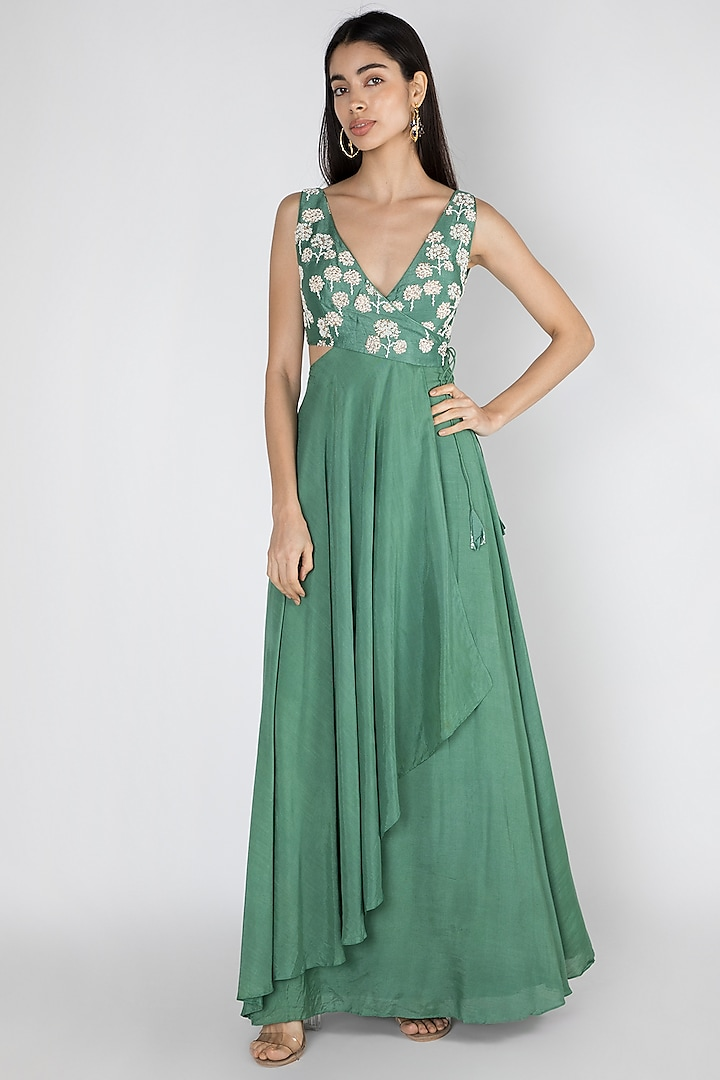 Emerald Green Embroidered & Printed Gown by Dhwaja