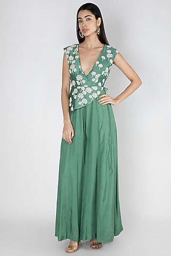 Emerald Green Embroidered Peplum Jumpsuit by Dhwaja