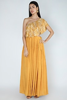 Amber Yellow Printed & Embroidered Gown by Dhwaja