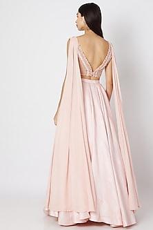 Blush Pink Embroidered Draped Lehenga Set by Dhwaja